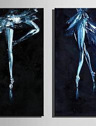 Hånd-malede Mennesker Vertikal,Rustikt Moderne To Paneler Kanvas Hang-Painted Oliemaleri For Hjem Dekoration
