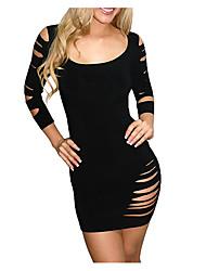 preiswerte -Damen Bodycon Kleid-Klub Bar Einfach Solide Rundhalsausschnitt Mini Nylon Ganzjährig Niedrige Taillenlinie Dehnbar Mittel