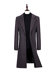 cheap -Men's Basic Long Wool Overcoat-Solid Colored