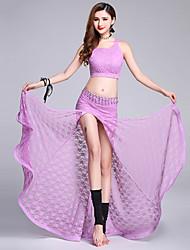 abordables -Danza del Vientre Accesorios Mujer Rendimiento Poliéster Encaje Diseño / Estampado Separado Sin Mangas Cintura Baja Faldas Top