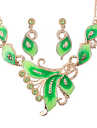cheap -Women's Leaf Jewelry Set 1 Necklace / Earrings - Casual / Fashion Green / Blue / Pink Jewelry Set For Party