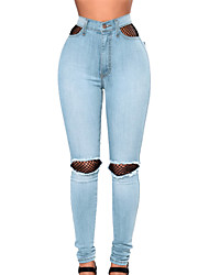cheap -Women's High Rise Jeans Pants,Casual Solid Polyester Elastane Fall/Autumn