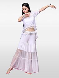 Danza del ventre Completi Per donna Addestramento Rayon Modal Pieghettato Più materiali Maniche corte Cadente Gonne Top