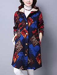 cheap -Women's Daily Daily Wear Street chic Winter Fall Coat,Print Hooded Long Sleeves Regular Polyester Monogram