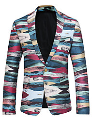 Men's Going out Club Sexy Spring Fall Blazer,Color Block V Neck Long Sleeve Regular Cotton Jacquard