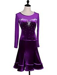 abordables -Danse de Salon Robes Femme Utilisation Mousseline de Soie Velours Cristaux/Stras Manches Longues Robe
