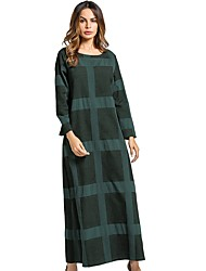 Women's Daily Tunic Dress,Plaid Round Neck Maxi Long Sleeve Cotton All Season Mid Rise Inelastic Opaque