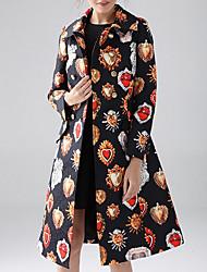 economico -Cappotto Da donna Casual Stoffe orientali Inverno Autunno,A quadri A V Cotone Acrilico Lungo Maniche lunghe Oversized