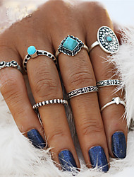 cheap -Men's Women's Rings Set Nail Finger Rings Turquoise Vintage Bohemian Statement Jewelry Alloy Oval Flower Irregular Jewelry For Wedding