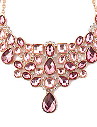 cheap -Women's Geometric Drop European Fashion Statement Necklace Rhinestone Glass Alloy Statement Necklace , Party Daily