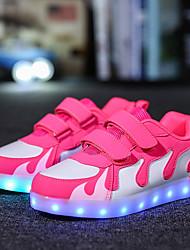 abordables -Chica Zapatos Semicuero Otoño Invierno Zapatos con luz Zapatillas de deporte Cinta Adhesiva LED Para Casual Fucsia Rosado y Blanco