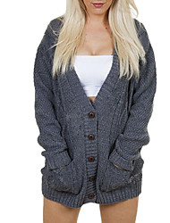 cheap -Women's Daily Wear Casual Regular Cardigan,Solid V Neck Long Sleeve Acrylic Polyester Winter Autumn Thick strenchy