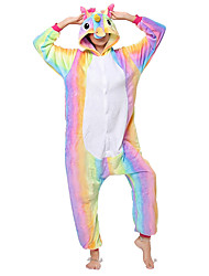 cheap -Kigurumi Pajamas Flying Horse / Unicorn Onesie Pajamas Costume Flannel Fabric Rainbow Cosplay For Adults' Animal Sleepwear Cartoon