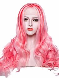 baratos -Perucas Lace Front Sintéticas Onda de Corpo Rosa Com Cabelo Baby Cabelo Sintético Rosa Peruca Mulheres Longo Frente de Malha