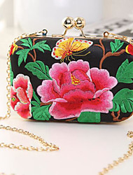 cheap -Women Bags PU Evening Bag Buttons Embroidery for Casual All Season Black