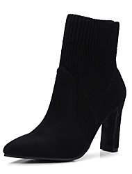 cheap -Women's Shoes Knit Flocking Fall Winter Comfort Boots Pointed Toe For Outdoor Office & Career Black