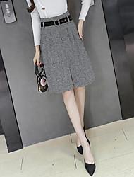 Women's Holiday School Knee-length Skirts,Cute Active Skirt & Dress Solid All Seasons Winter