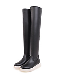 Women's Shoes Leatherette Fall Winter Fashion Boots Boots Round Toe Thigh-high Boots For Casual Dress Blushing Pink Black White