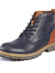 cheap -Men's Boots Snow Boots Fashion Boots Motorcycle Boots Bootie Combat Boots Fall Winter Real Leather Casual Outdoor Office & Career Lace-up