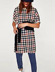 cheap -Women's Daily Sheath Dress,Plaid Shirt Collar Knee-length Long Sleeve Polyester Winter Medium Waist Inelastic Opaque