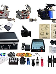 cheap -Tattoo Machine Professional Tattoo Kit 1 cast iron machine liner & shader 2 steel machine liner & shader High Quality 2 x aluminum grip 4