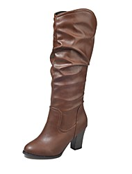 cheap -Women's Shoes PU Rubber Winter Fluff Lining Combat Boots Boots Round Toe Knee High Boots Mid-Calf Boots Draped Side-Draped For Party &