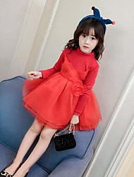 cheap -Girl's Going out Solid Dress,Cotton Rayon Polyester Long Sleeves Casual Active Princess Black Red