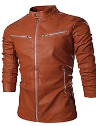 Men's Daily To-Go Simple Casual Winter Fall Leather Jackets,Solid Standing Collar Long Sleeves Regular PU