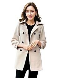 Недорогие -Для женщин На каждый день Работа одежда Весна Осень Пальто Асимметричный вырез,Простой Однотонный Обычная Полиэстер