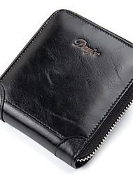 Men Bags Cowhide Wallet 2 Pieces Purse Set Zipper for Casual Office & Career All Season Black Dark Blue Brown