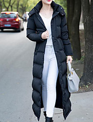Women's Long Down Coat,Simple Casual/Daily Solid-Cotton Polypropylene Long Sleeves Hooded