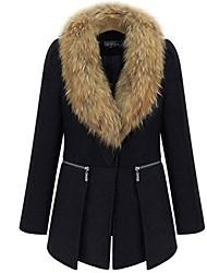 billige -V-hals Dame Ensfarvet I-byen-tøj Frakke