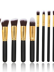 10 pcs Makeup Brush Set Synthetic Hair Full Coverage Wood Blush
