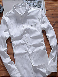 Men's Daily Wear Vintage Shirt,Solid Button Down Collar Long Sleeves Cotton