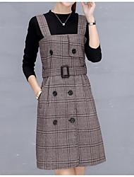 Tee-Shirt Robes Costumes Femme,Tartan Décontracté / Quotidien simple Hiver Automne Manches Longues Col Arrondi Coton Polyester