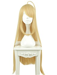 cheap -Synthetic Wig / Cosplay & Costume Wigs Straight Blonde Asymmetrical Haircut / With Bangs Synthetic Hair Natural Hairline Blonde Wig Women's Long Capless