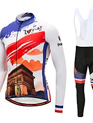 Cycling Jersey with Bib Tights Men's Long Sleeves Bike Bib Tights Tights Pants / Trousers Jersey Top Clothing Suits Quick Dry 3D Pad YKK