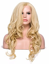 Women Synthetic Wig Lace Front Medium Length Wavy Light golden With Baby Hair Party Wig Cosplay Wig Natural Wigs Costume Wig
