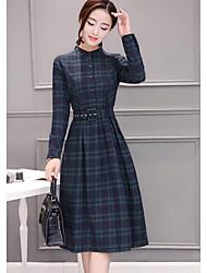 baratos -Mulheres Para Noite Algodão Bainha Vestido Houndstooth Colarinho de Camisa Médio
