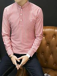 メンズ お出かけ カジュアル/普段着 シャツ,ストリートファッション シャツカラー ストライプ ポリエステル 長袖
