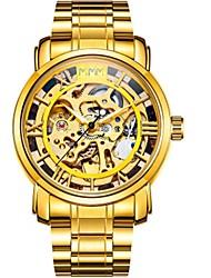 abordables -Homme Remontage automatique Montre mécanique / Montre Bracelet Chinois Calendrier / Chronographe / Etanche / Gravure ajourée / Cool /