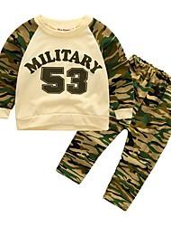 Недорогие -Дети (1-4 лет) Мальчики На каждый день / Активный камуфляж Длинный рукав Обычный Обычная Хлопок Набор одежды Военно-зеленный 100