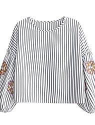 T-shirt Da donna Casual A strisce Ricamato Rotonda Cotone Altro Manica lunga