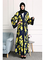 cheap -Women's Party Daily Wear Casual Kaftan Dress,Floral Color Block Round Neck Maxi Long Sleeve Polyester All Season High Waist Inelastic
