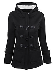 cheap -Women's Daily Holiday Casual Street chic Winter Fall Jacket,Solid Hooded Long Sleeve Regular Cotton
