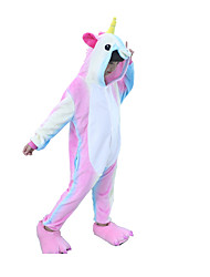 cheap -Kigurumi Pajamas Horse Unicorn Onesie Pajamas Costume Flannel Toison Rainbow Cosplay For Kid Animal Sleepwear Cartoon Halloween Festival