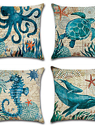 cheap -4 pcs Cotton/Linen Pillow Case Pillow Cover, Printing Fashion Novelty Vintage Casual Tropical European Mediterranean Neoclassical