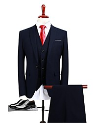cheap -Navy Blue Solid Standard Fit Polyester Suit - Peak Single Breasted One-button