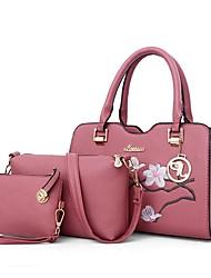 baratos -Mulher Bolsas Couro Ecológico Conjuntos de saco Bordado para Todas as Estações Preto Vermelho Rosa Cinzento Verde Escuro