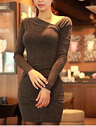 preiswerte -Damen Bodycon Kleid-Alltag Solide Rundhalsausschnitt Mini Langarm Baumwolle Sommer Herbst Mittlere Hüfthöhe Mikro-elastisch Mittel